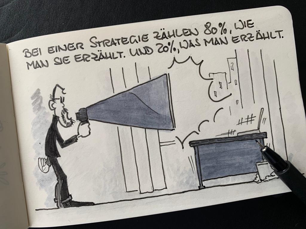Am Tag nach dem Strategietag wird verkündet: Bei einer Strategie zählt zu 80%, wie man sie erzählt. Und zu 20%, was man erzählt.